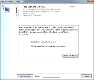 Datenübernahme vom Fora Diamond Mini USB ins Diabetes-Tagebuch